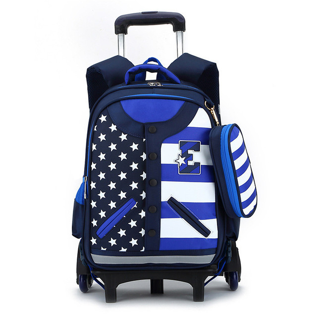 Hot Boys Trolley Backpack S School Bag Classic Travel Luggage Suitcase On Wheels Kids Rolling
