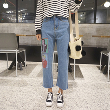 Весной 2017 женщин мультфильм печати свободные отверстия брюки широкую ногу джинсы лодыжки длина брюк случайные брюки брюки рваные джинсы femme