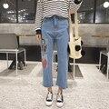 2017 mujeres del Resorte impresión de la historieta suelta agujero pantalones vaqueros de pierna ancha pantalones hasta el tobillo ocasional pantalones pantalon jeans rasgados femme