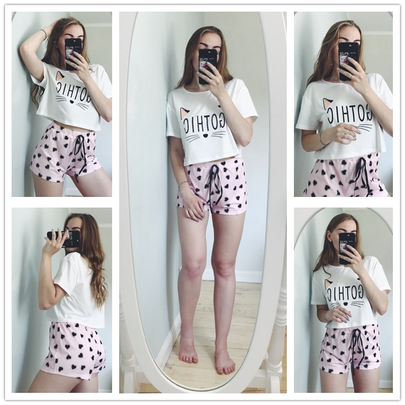 Image 5 - Dotfashion Cartoon Cat And Letter Print Tee With Heart Shorts PJ Set 2019 Summer Pajamas For Women Casual Short Sleeve Sleepwear-in Pajama Sets from Underwear & Sleepwears