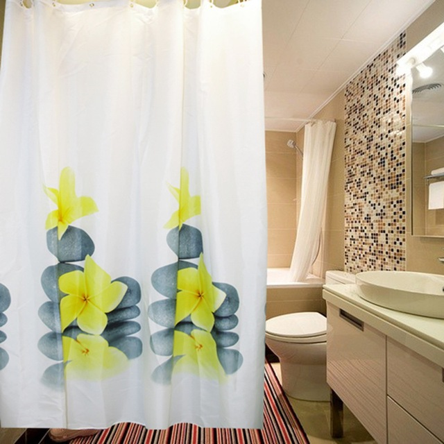 Southeast Zen Bathroom Waterproof Polyester Shower Curtains With 12pcs Curtain Hooks Rings Home Deco Accessories Plumeria