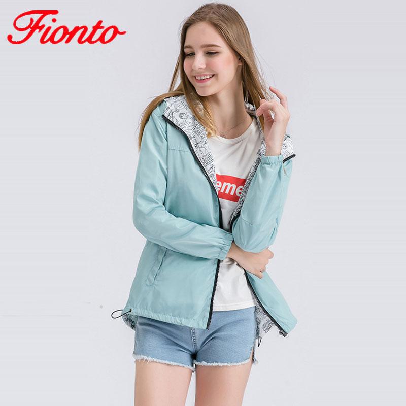 2017 Female   Jacket   Women Bomber   Basic     Jacket   Autumn Two Side Wear Coat Cartoon Print Pocket Zipper Hooded Outwear Loose A067