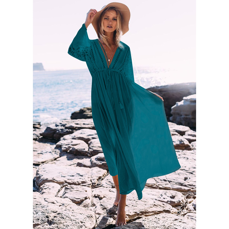 Image 5 - 2019 Sexy Beach Cover Up Swimsuit White V Neck Hollow Out Beach Long Dress Women Bikini Swimwear Bathing Suit Summer Beach Tunic-in Cover-Ups from Sports & Entertainment