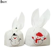 BXLYY 12.5*21cm Christmas Snowman Bunny Ear Candy Bag Cookie Bag Gift Bag Christmas Decoration New Year Halloween Baby Shower.7z snow bunny s christmas gift