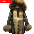2016 novo inverno mulheres jaqueta do exército verde exteriores grosso casaco com capuz parkas raccon gola de pele real coelho natural real pelliccia