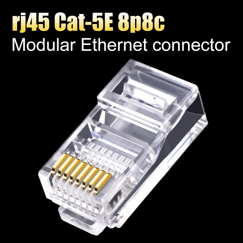 CNCOB cat 5e rj45 connector 8p8c utp ftp network modular plug internet cat5 rj 45 Ethernet crimp cable connector 30 50 100pcs in Computer Cables Connectors from Computer Office