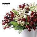 Искусственная Имитация ягод 1 ветка, фрукты 4 цвета, маленькое искусственное растение, свадебное украшение для дома, отеля, вечерние аксессу...