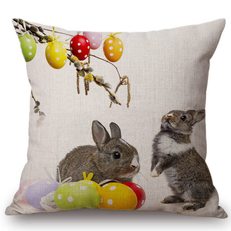 Home & Garden Sweet-Tempered Happy Easter Eggs Rabbit Cushion Cover Decorative Pillows Cover For Sofa Seat Soft Throw Pillow Case 45x45cm Home Decor 2019 Official