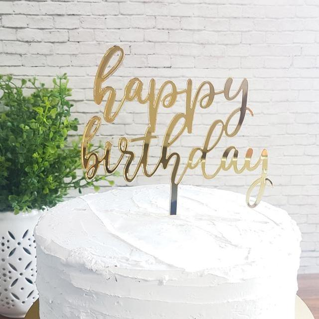 Wooden Happy Birthday Cake Topper Decoration White Black Glod Silver Color Acrylic Stand Gift Supplies