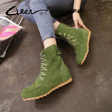 Liren Shoes Woman Flat Ankle Snow Motorcycle Boots Female Suede Leather Lace-Up Rubber Winter Women Botas Australia Mujer