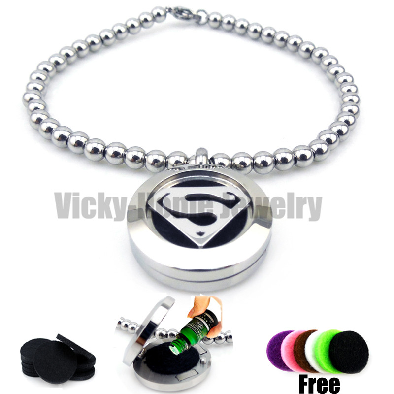 Round Silver Superman Hero (20mm) Bead Bracelet Aromatherapy / Essential Oils Aromatherapy Locket Stainless Steel with Felt Pads