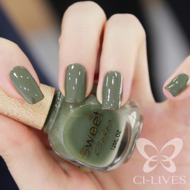 Environmental protection CICI Nail sweet color green nail polish ...