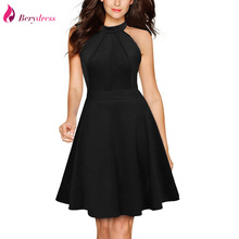 Berydress Cute Women Sexy Halter Neck Wedding Party Sleeveless A-Line Skater Dresses