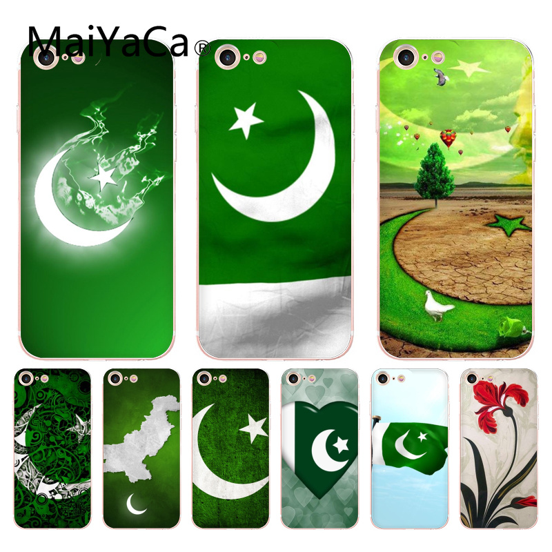 MaiYaCa For iphone 7 6 X Case National Flag Pakistan Flag Flower Transparent Case for iPhone 8 7