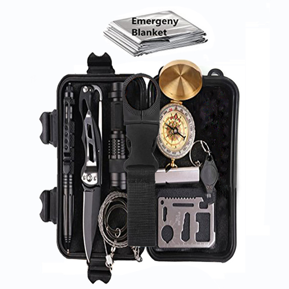 11 in 1 survival kit Set Outdoor Camping Travel Multifunction First aid SOS EDC Emergency Supplies Tactical for Wilderness цена и фото