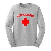 Loo Show Mens Life Guard YMCA Zwembad Personeel Lange Mouw Volwassen T-Shirts Casual Mannen Tee