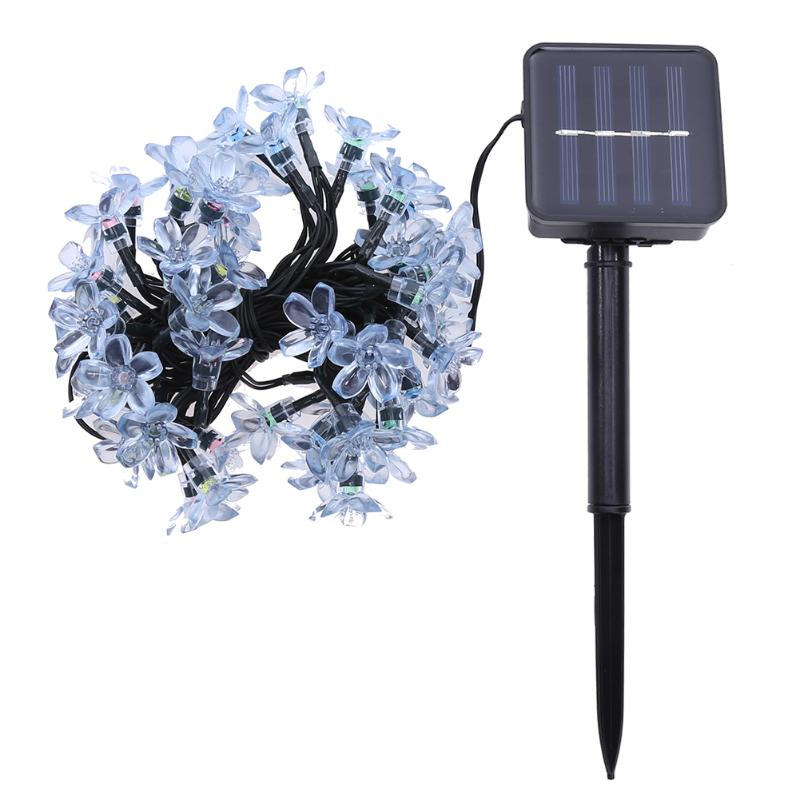 Colorful Solar Light 50 LED Peach Blossom Solar Fairy String Light Fascinating Lighting Outdoor Garden Party Decor