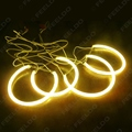 2X 146mm 2X 131.5mm Yellow Car CCFL Halo Rings Angel Eyes LED Headlights for BMW E46(NON projector) Light Kits #FD-4174