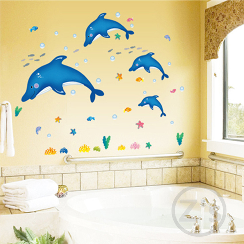 Zs Sticker dolphin fish marine wall sticker bath room decoration removable adhesive vinyl watertight waterproof bathroom