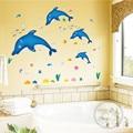 Zs Sticker dolphin fish marine wall sticker bath room decoration removable adhesive vinyl watertight waterproof bathroom