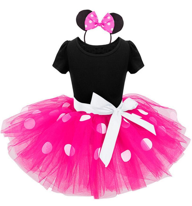 Novo vestidos de natal menina princesa festa traje da criança infantil roupas polka dot minnie meninas tutu vestido bandana