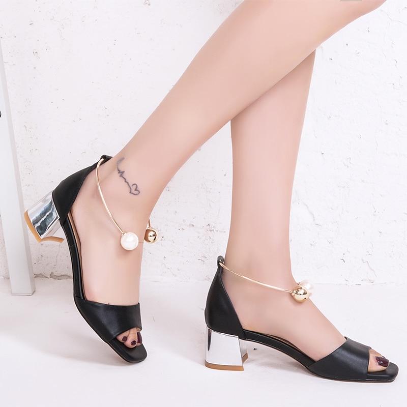 De Femme Cuir Sandales Bas Bout Taille Femmes Chaussures 40 Carré BoxCeWErQd