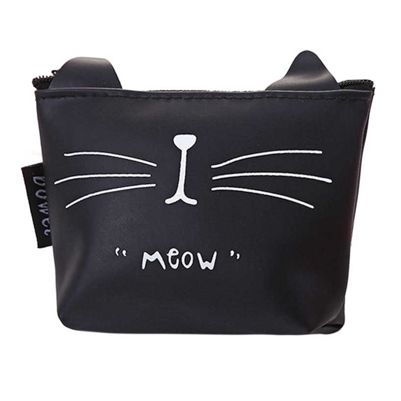 Aelicy Women Girls Non-Woven Fabric Print Casual Coin Purse Black White Zipper Pouch Key Holder Make-up Bag Travel Clutch Wallet