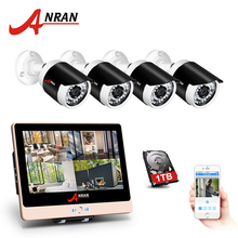 ANRAN POE NVR CCTV Camera System 4CH 1080P HD Outdoor POE Security Camera System Waterproof 12 Inch LCD Screen Surveillance Kit