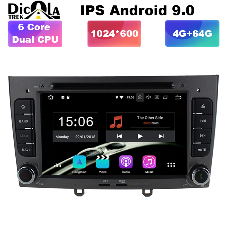4G+64G IPS HD PX6 Android 9 Car DVD Multimedia player for <font><b>Peugeot</b></font> 408 308 <font><b>308SW</b></font> 2008-2013 <font><b>Radio</b></font> RDS GPS Navigation image