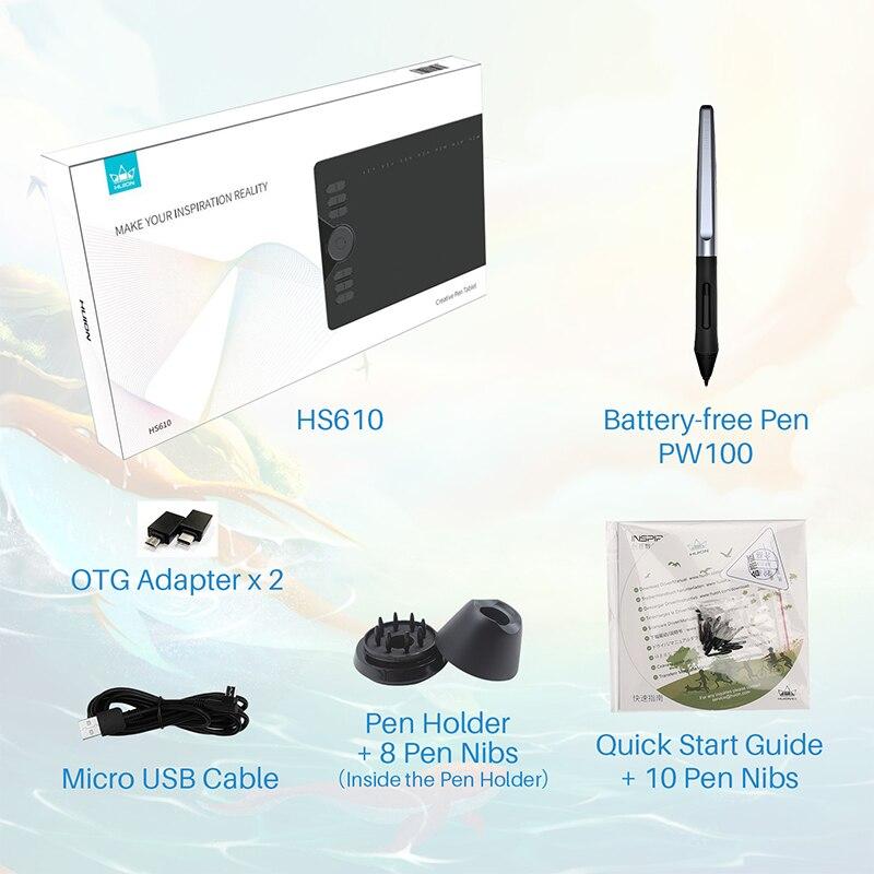 HUION HS610 tablettes graphiques stylo numérique tablette téléphone dessin tablette avec inclinaison OTG stylet sans batterie pour Android Windows macOS - 6