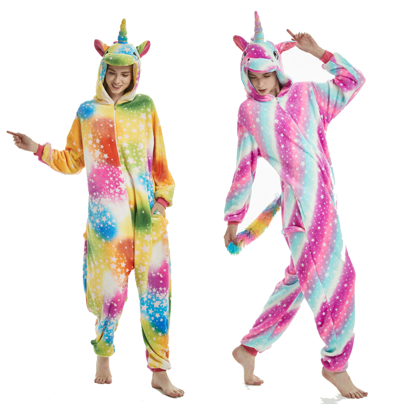 Adults Animal   Pajamas     Sets   Cartoon Sleepwear Cosplay Zipper Women Men Winter Unisex Flannel Panda Unicorn   Pajamas   New Style
