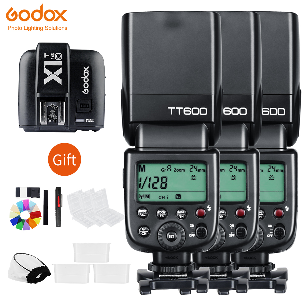 Godox 3x TT600 2 4G Wireless Camera Flashes Speedlites With X1T Transmitter Trigger For Canon Nikon