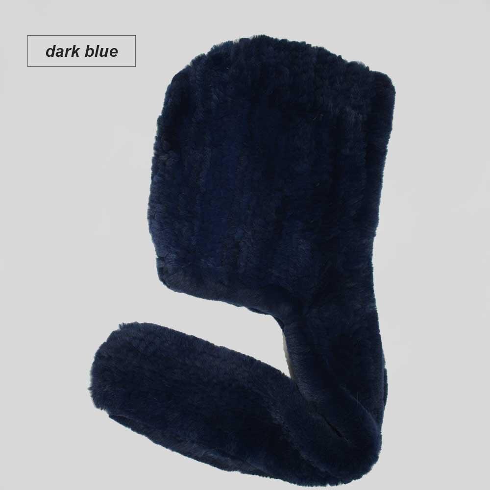 knit rex fur scarf dark blue
