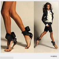 Koovan Women Sandals 2019 New Fashion Retro Big Bowtie Women's Summer Shoes Flats With Sandal For Party Slipper Beach 35 40
