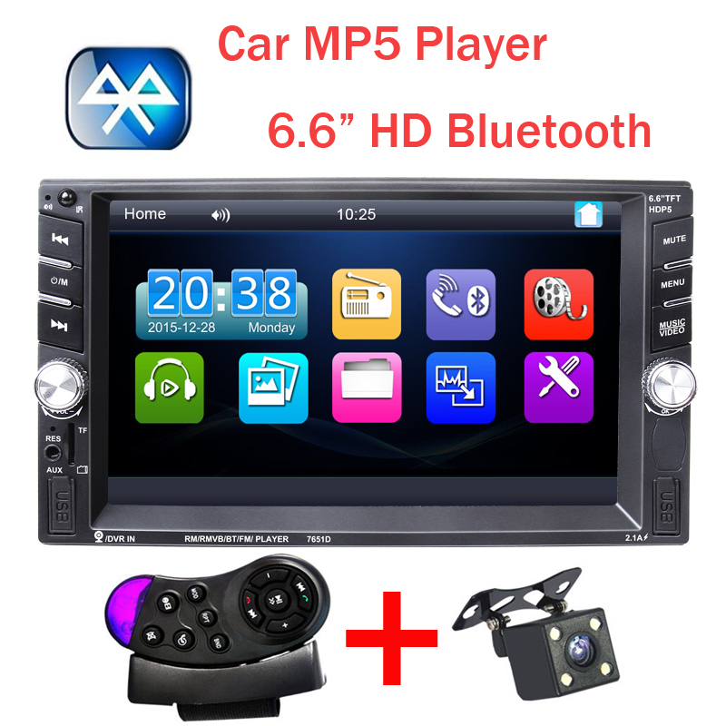 New 2 Din Car Video Player 6.6'' HD Bluetooth Stereo Radio FM MP4 MP5 Audio USB Auto Electronics autoradio steering-wheel 2din 2 din car multimedia player hd rear view camera bluetooth stereo radio fm mp3 mp5 dvd video audio usb auto electronics autoradio