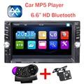 Novo 2 Din Player De Vídeo Do Carro 6.6 ''HD Bluetooth Estéreo rádio FM MP4 MP5 Áudio autoradio USB Auto Eletrônica volante-roda 2din