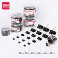 Deli 60 pcs/set black tail clip big/medium/small size file collection office and business dovetail clip binder clip/clamp