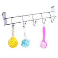 Stainless Steel Bathroom Kitchen Organizer Hanger Coat Hooks With 5-Hook Towel Hat Coat Clothes Cabinet Draw Door Wall Hooks