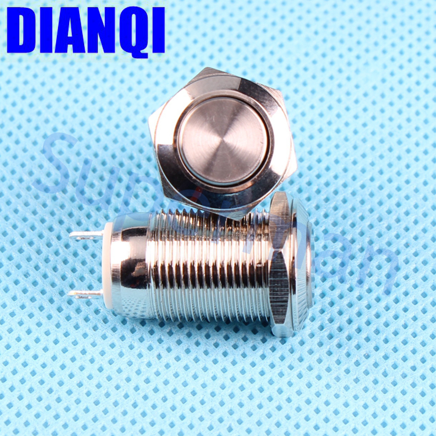 12mm metal push button waterproof nickel plated brass car press button Latching 1NO flat switch 2pin 12PN,Z.KB 6 10 mm brass nickel plated m20 1 5 mm electric cable gland waterproof x 10
