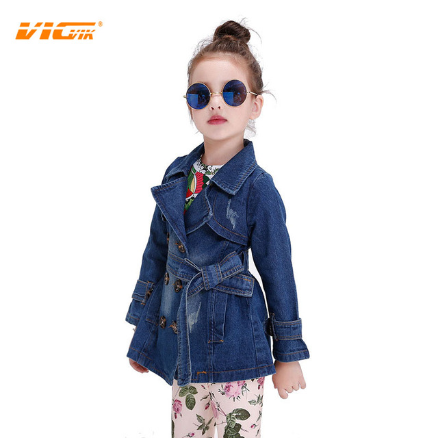 50f92c15df5 US $35.58  VICVIK Brand Girls Jean Jacket Teenage Childrens Denim Coats  Kids Clothing Baby Girls Clothes Korean New Fashion-in Jackets & Coats from  ...