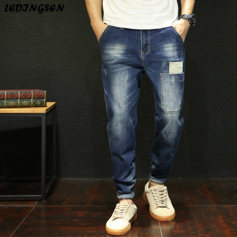 LEDINGSEN Men Fashion Blue Jeans High Stretch Baggy Denim Harem Pants Casual Long Jean Trousers Plus Size 48 Bermuda Masculina