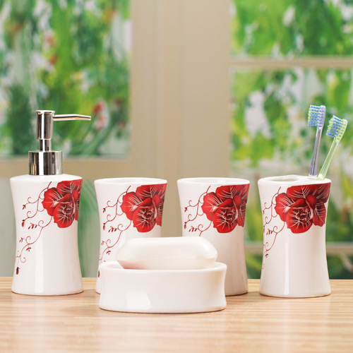 Five Piece Red Rose Ceramic Bathroom Set Toiletries Toothbrush Holder Accessories Amenities