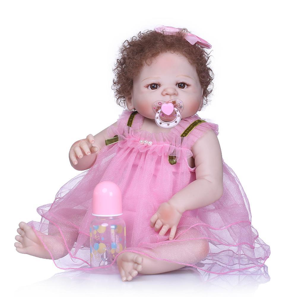 Dolls New Lifelike Handmade Vinyl Silicone Baby Reborn Doll Newborn Curly Hair Pretend Toy To Enjoy High Reputation In The International Market