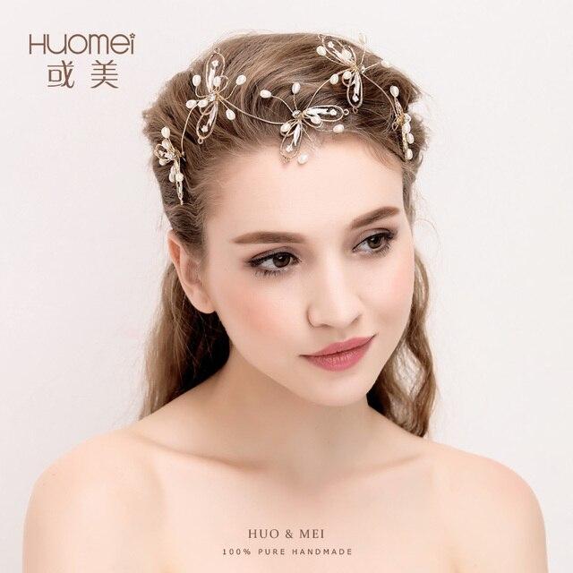 Elegante Schmetterling Hochzeit Braut Stirnbander Frisuren Gold