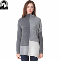 New Winter Autumn Women Sweater Splicing Hit Color Irregular Sweater Pullover Knitted Turtleneck Fashion Thick Warm