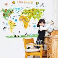 Cartoon World Map Stickers Wall Window Sickers DIY Self Adhesive Cute Animal Children Room Decoration