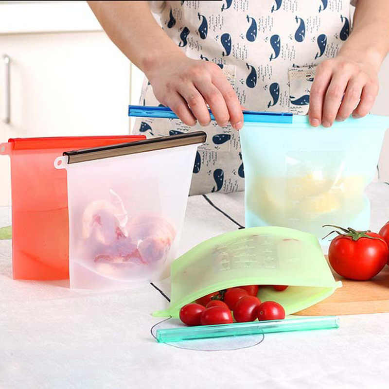 Food Silicone Fresh Bag Reusable Vacuum Sealed Freezer Bag Slide Lock Snacks/Sandwiches/Meat Marinades Storage Bags Kitchen Tool