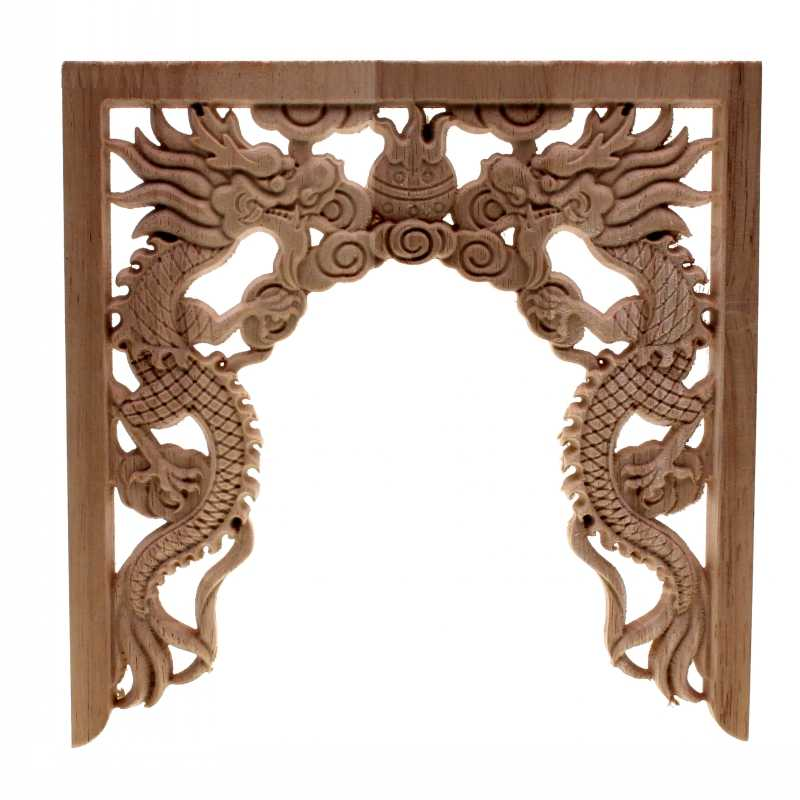RUNBAZEF Chinese Niches Double Dragon Play Bead Floral Wood Carved Corner Applique Wooden Carving Decal Furniture Decor Crafts