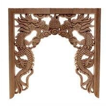 RUNBAZEF китайские ниши с двойным драконом, игральные бусины, Цветочная деревянная резная угловая аппликация, деревянная резьба, переводная ка...