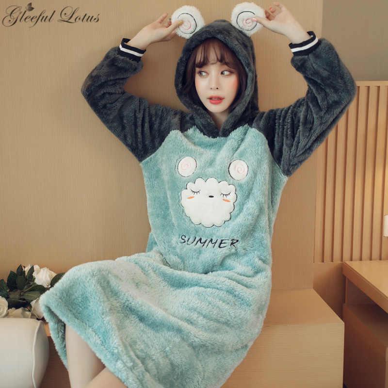 פלנל כתונת לילה נשים חם חורף לילה שמלת ברדס בעלי החיים הלבשת Nightwear נייטי גבירותיי בית ללבוש קוריאני לילה שמלת 2018